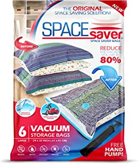 Spacesaver Premium Reusable Vacuum Storage Bags, Save 80% More Storage Space. Double Zip Seal & Leak Valve, Travel Hand Pump Included (Large 6 Pack)