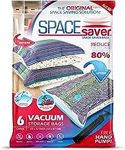 Spacesaver Premium Reusable Vacuum Storage Bags, Save 80% More Storage Space. Double Zip Seal & Leak Valve, Travel Hand Pump Included (Large 6 Pack)