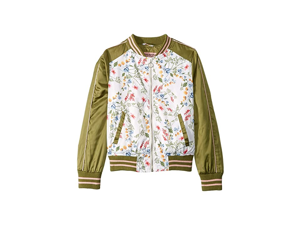 Urban Republic Kids Eleanor Sateen Floral Bomber Jacket (Little Kids/Big Kids) (White) Girl