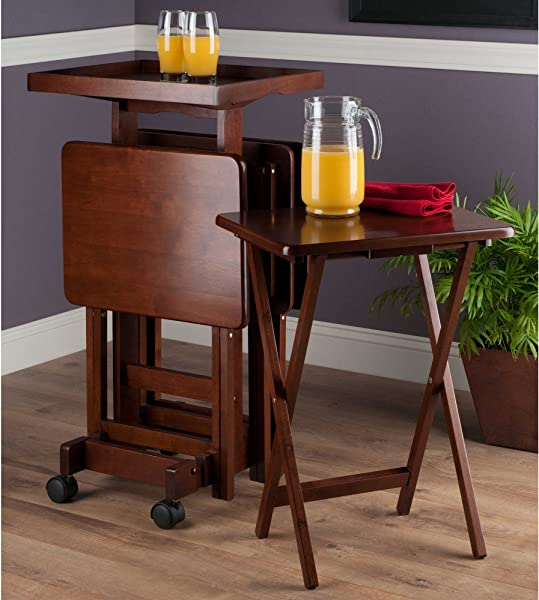TV Tray Snack Tables 6 Piece Set With Serving Tray And Stand On Wheels Portable Furniture Bundle Includes Customizable Elegant Monogram Drink Coasters Espresso