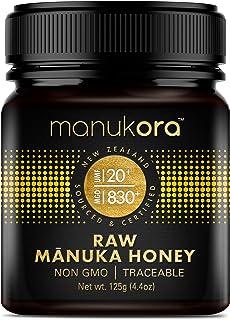 Manukora UMF 20+/MGO 830+ Raw Mānuka Honey (125g/4.4oz) Authentic Non-GMO New Zealand Honey, UMF & MGO Certified, Traceabl...