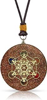 Orgone Pendant | Reiki Merkaba Metatron's Cube | 7 Major Chakras and SSB Coil | 2 inch Diameter with Adjustable Necklace