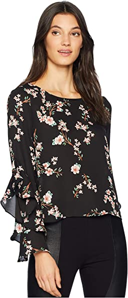 "Hey Girl ""Magnolia Bloom"" Printed Crepe de Chine Top"