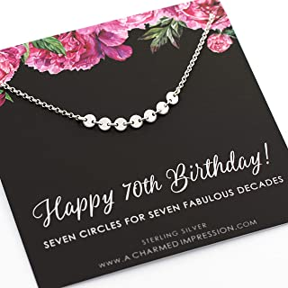 70th Birthday Gifts for Women • Sterling Silver Necklace • 70 Year Old Birthday Gifts for Women • Seven Circles for 7 Decades Necklace • Seventieth Birthday • Turning Seventy Gifts • Unique Jewelry
