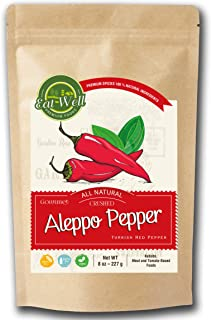 Aleppo Pepper | 8 oz - 227 gr | Crushed Turkish Chili Pepper | Middle Eastern Red Pepper - Maras Pepper | Product of Turkey | Halaby, Syrian Pepper | İpek Pul Biber | by Eat Well Premium Foods