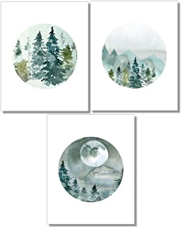 Forest Landscape Art Prints- Nature Wall Decor - Set of 3-8x10 - Unframed