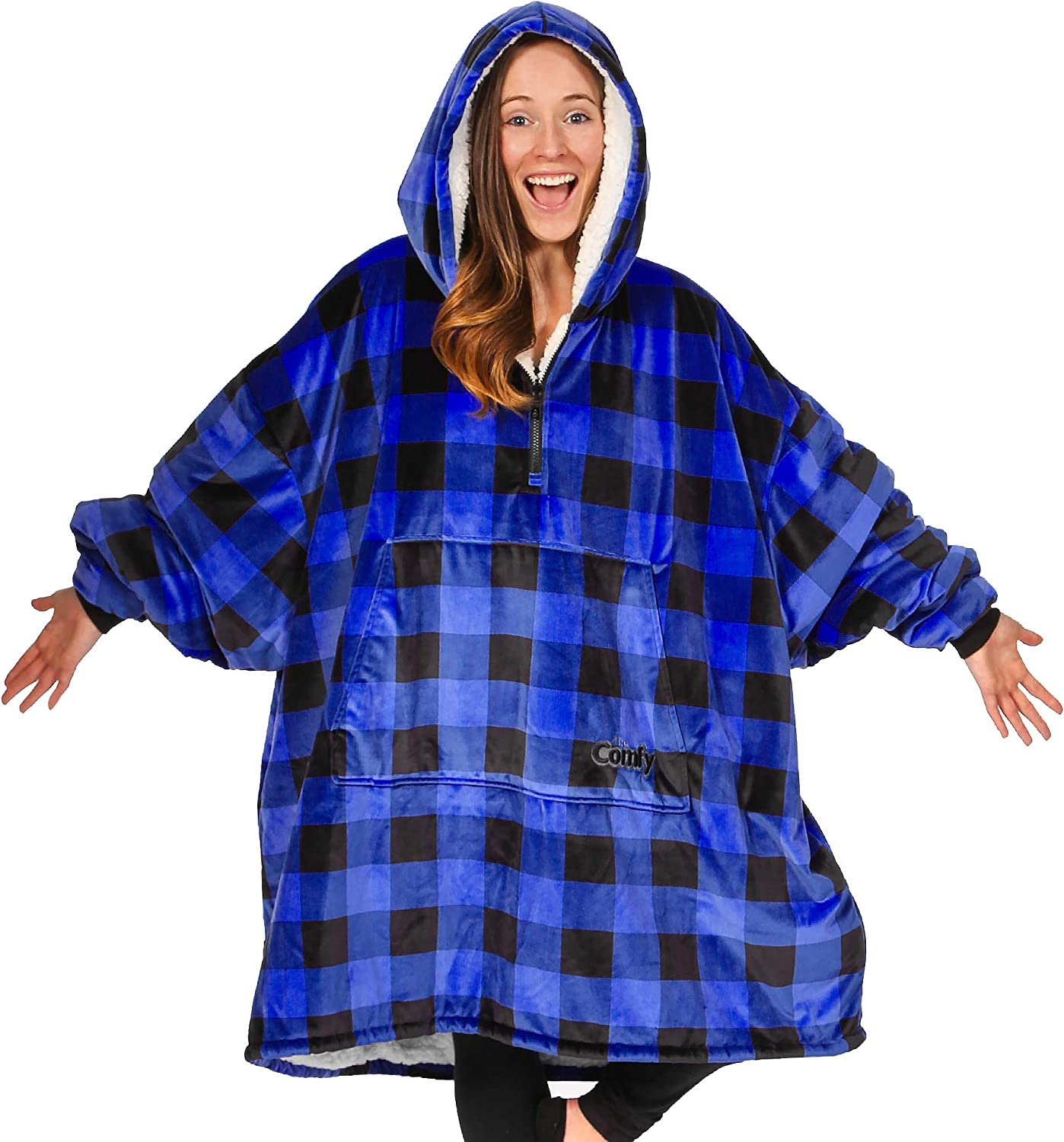 THE COMFY Quarter Zip   Oversized Microfiber & Sherpa Wearable Blanket, Seen On Shark Tank, One Size Fits All, Blue Plaid