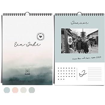Edler DIN A4 Wandkalender immerwährend I ohne Jahr I von heaven+paper®   Fotokalender Aqua Mood in kühlen Farben, modern & elegant   Idealer