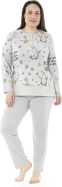 Mabel Intima Pijama Talla Grande Mujer Tallas Grandes Varias Tallas Tallas 50-70 Estampados y Colores Pijama Manga Larga Mujer