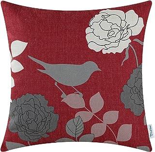 CaliTime Canvas Sierkussen Cover Case voor Bank Sofa Woondecoratie Bloemen Cartoon Shadow Bird Silhouette 45cm x 45cm Bour...
