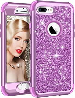 Vofolen Case for iPhone 8 Plus Case iPhone 7 Plus Case Glitter Bling Shiny Heavy Duty Protection Full-Body Protective Hard Shell Rubber Bumper Armor with Front Cover for iPhone 8 Plus 7 Plus Violet