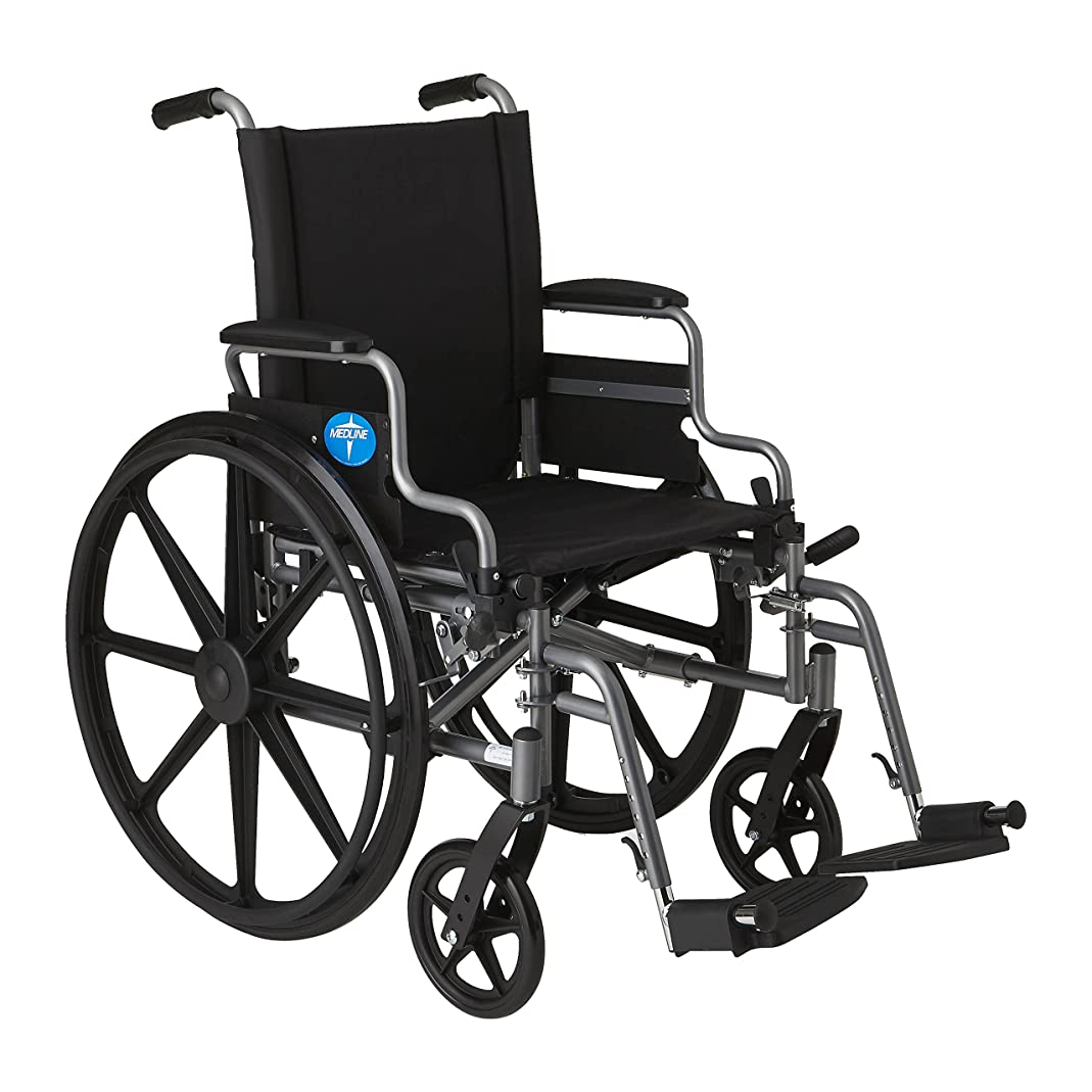 "Medline Lightweight and User-Friendly Wheelchair with Flip-Back Desk Arms and Swing-Away Leg Rests for Easy Transfers, Gray, 18"" x 16"