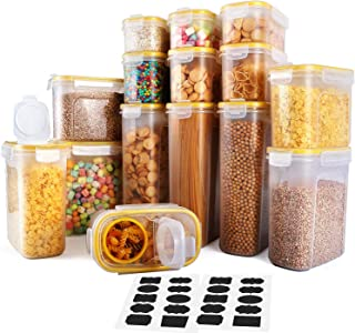 Cereal Container, VERONES Food Storage Containers 15 Pack Airtight Cereal Dispenser Set for Flour Snacks Nuts & Baking Supplies