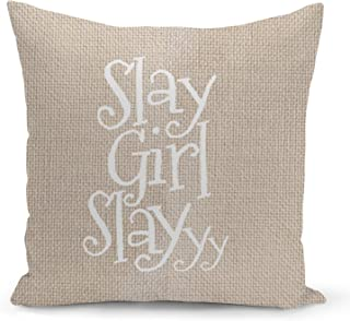 Slay Girl Quote Beige Linen Pillow with Pearl White Foil Print Slay Funny Decorative Pillow