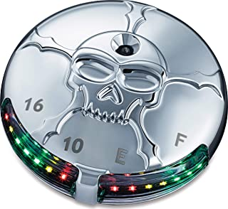 Kuryakyn 7357 Motorcycle Lighting Accent Accessory: Zombie Skull LED Fuel and Battery Gauge for 1988-2019 Harley-Davidson Motorcycles, Chrome