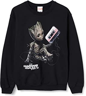 MARVEL Men's Guardians of The Galaxy Vol2 Groot Tape Sweatshirt, Black (Black Blk), Small (Size:S)
