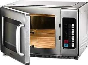 Microondas con función de aire caliente y grill, 34 litros, acero inoxidable