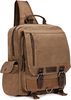 Plambag Canvas Sling Backpack One Strap Travel Sport Crossbody Bag Coffee