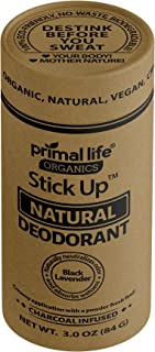 Primal Life Organics | Stick Up Natural Vegan Deodorant | Charcoal Infused and Made with Magnesium and Hemp Seed Oil | No Gluten, Baking Soda or Aluminum | 3 Ounces | Black Lavender