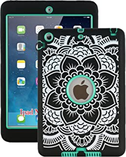 iPad Mini Case, iPad Mini 2 Case, iPad Mini 3 Case, ZERMU Black Flower Design Shock-Absorption Silicone High Impact Resistant Hybrid Three Layer Armor Defender Protective Cover for iPad Mini 1/2/3