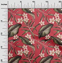 oneOone Cotton Poplin Twill Light Red Fabric Floral & Leaves Tropical Sewing Material Print Fabric by The Meter 56 Inch Wide