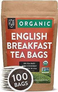 Organic English Breakfast Black Tea Bags | 100 Tea Bags | Chinese Keemun & Indian Assam Blend | Eco-Conscious Tea Bags in ...
