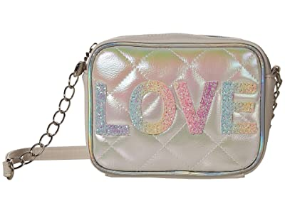 OMG! Accessories Metallic Quilted Love Crossbody (White) Handbags