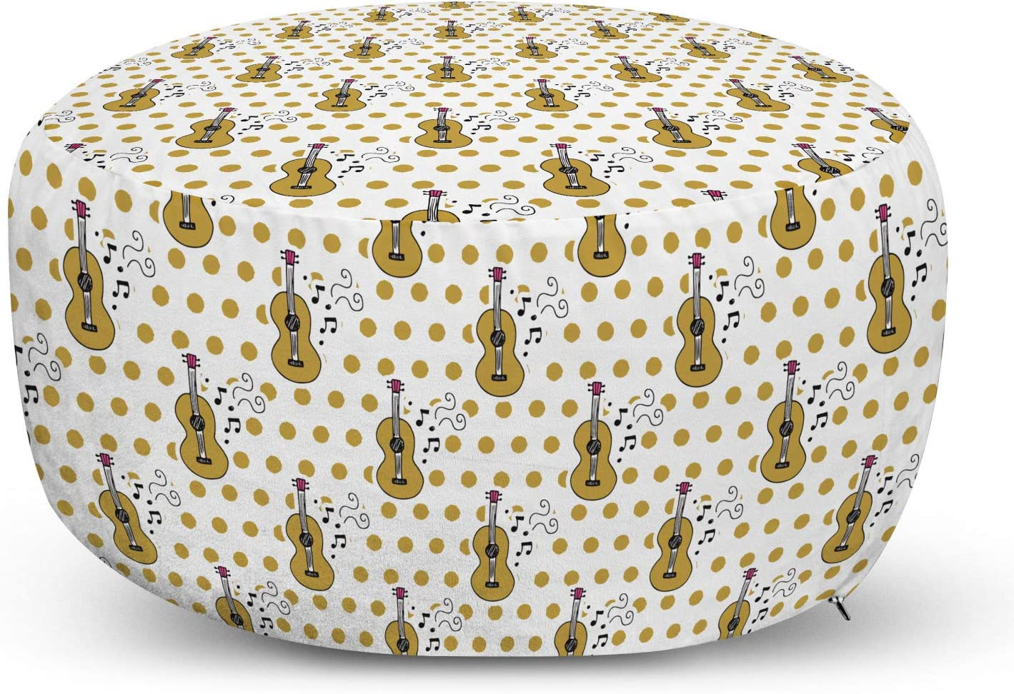 Ambesonne Guitar Pouf specialty shop Cover with Max 83% OFF Patter Zipper Drawn Style Hand