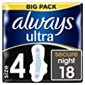 Always Ultra Secure Night Sanitary Towels Wings 18 Pads, Size 4, 2 x 18 Count - Super Saving Box