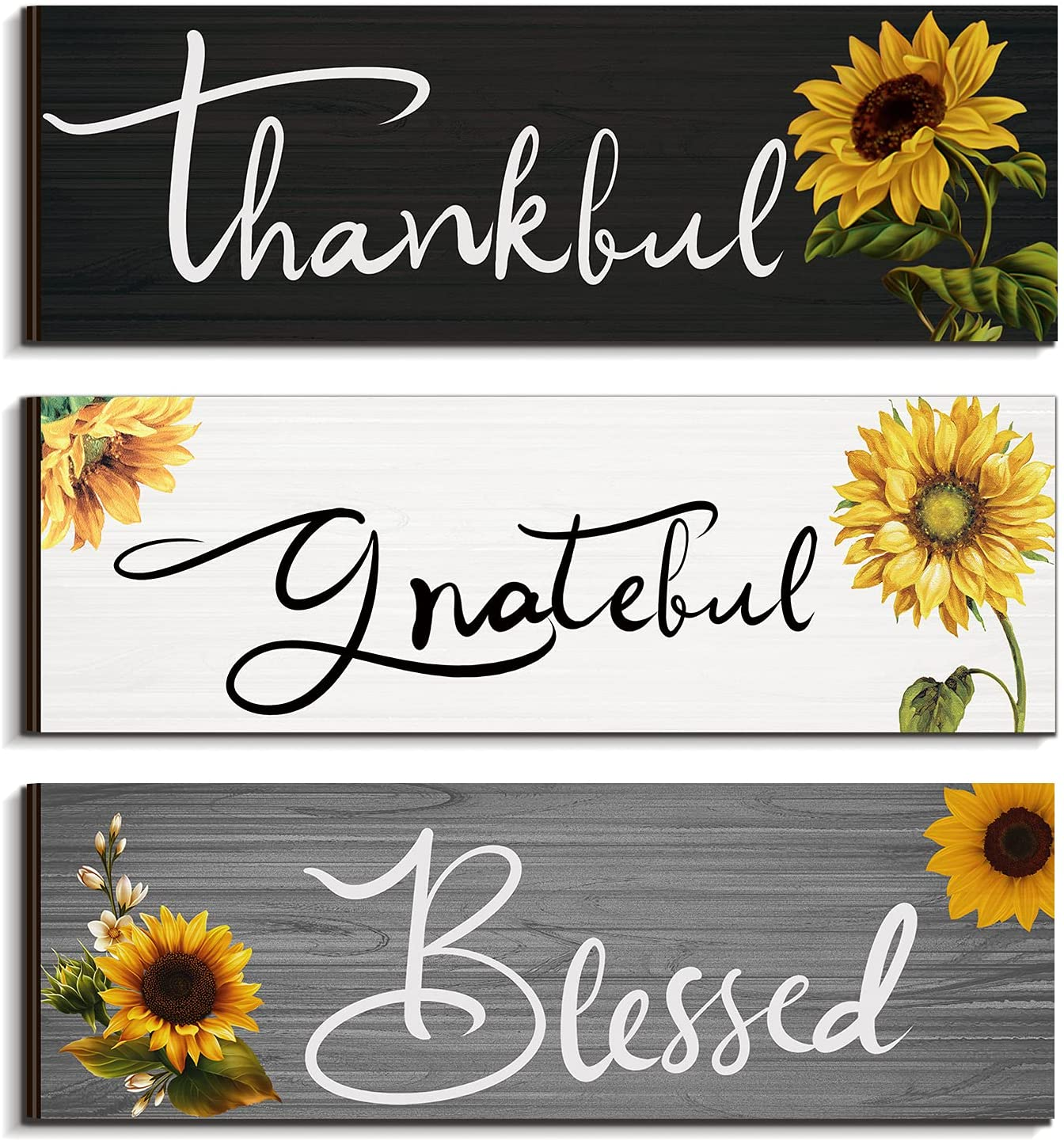3 Pieces Sunflower Farmhouse Wall Decor Thankful Grateful Blessed Wooden Signs Sunflower Hanging Wall Signs Rustic Wall Art Decor Sunflower Decor for Farmhouse Outdoor Decor for Thanksgiving (Gray)