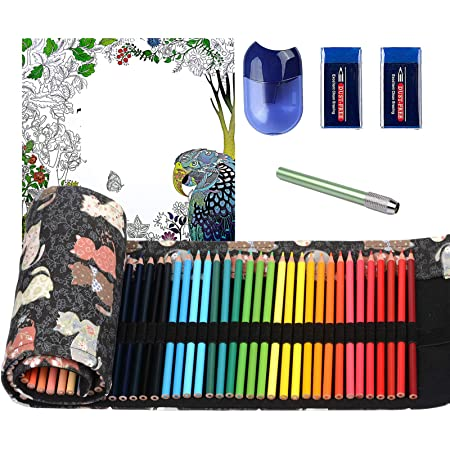 ThEast 48 Colored Pencils, Premier Color Pencils for Adult Coloring Book, Artist Soft Core Oil Based Color Pencil Sets, Included Sharpener, Handmade Canvas Pencil Wrap, Coloring Book, Erasers