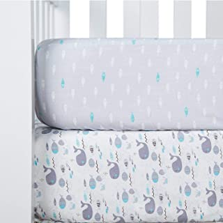 TILLYOU Printed Whale Crib Sheets Set, 100% Egyptian Cotton Toddler Sheets for Baby Boys Girls, Soft Breathable Hypoallergenic, 28