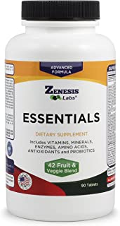Essentials - a Natural & Nutrient Rich Multi-Vitamin - with Minerals, Enzymes, Amino Acids, Antioxidants and Probiotics - 90ct