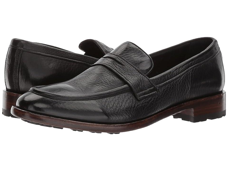 Frye Aiden Lug Penny (Black Deer Skin Leather) Men's Slip-on Dress Shoes