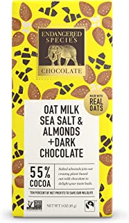 Endangered Species Chocolate Bee, 3 Oz. Bars, 55% Cocoa, Oat Milk With Dark Chocolate, Sea Salt & Almonds, Gluten Free, Fa...