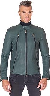 D'Arienzo - Giacca Chiodo in Pelle Uomo Made in Italy Verde Vera Pelle Giubbotto Giubbino Moto
