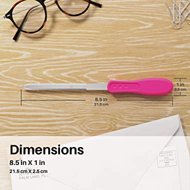 Uncommon Desks Office Letter Opener - Stainless Steel Knife-Edge Blade, Ergonomic Grip Handle (Mixed Colors, 3 Pieces)
