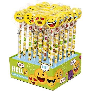 INTVN 40 Emoji Emoticon Gomma Cancellare Matita Set regalino bomboniera per Festa Bambini Compleanno Battesimo Natale Regalo per Bambina Bambino