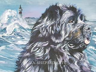 A Newfoundland dog art portrait print of an LA Shepard painting 8x10