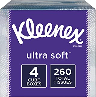 Kleenex Ultra Soft Facial Tissues, 4 Cube Tissue Boxes, 65 Tissues per Box (260 Tissues Total)