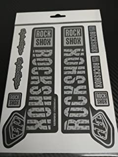 Ecoshirt 8B-HSXR-PYR0 Stickers Pg55 Stickers Fork Rock Shox Pike SID Yari Lyrik Boxxer 2018 Aufkleber Decals Stickers Forc Gabel Troy Lee Desings, Silver