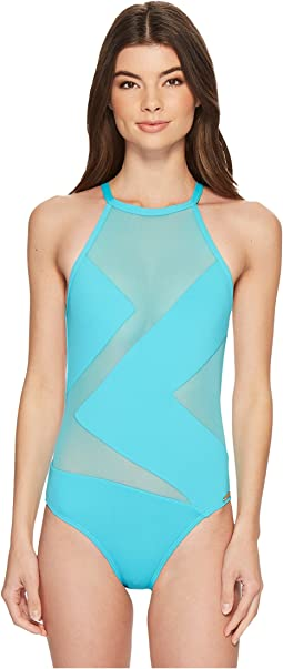 Layered Illusion High Neck One-Piece Swimsuit w/ Mesh Insert