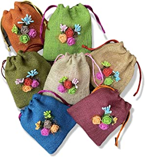 Pack of 5-TheHandikrafts Colored Jute Potli With Multicolour Flower Jute Linen Potlis, Diwali Gift Pouches | Gift Bags for...