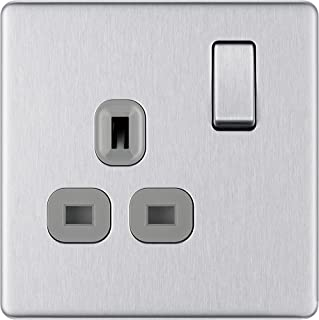 BG Electrical Screwless Flat Plate Single Switched Power Socket, Brushed Steel, 13 Amp