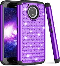 Moto E4 Plus Case, Motorola E Plus 4th Gen Cute Case For Girls, TILL(TM) Studded Rhinestone Crystal Bling Diamond Sparkly Luxury Shock Absorbing Hybrid Defender Rugged Slim Glitter Case Cover [Purple]