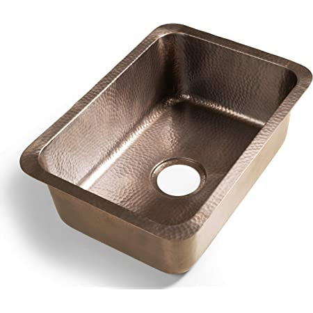 Monarch Abode 17098 Pure Copper Hand Hammered Milan Single Bowl Kitchen Sink, 21 inches