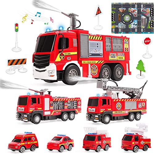 wholesale 7 Pack Fire Trucks with Water Spraying Function, Fireman Toy new arrival Firetrucks with Sound and Light, Pull Back Cars, Friction-Powered Vehicles, Birthday Gift for Toddlers and outlet sale 3+ Year Old Boys outlet sale