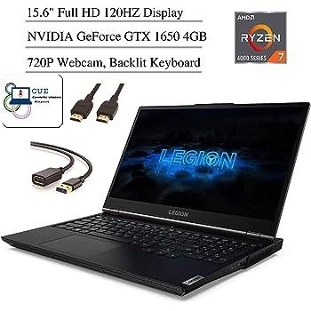"Lenovo Legion 5 Gaming Laptop, 15.6"" Full HD 120Hz Screen, AMD Ryzen 7 4800H Processor, NVIDIA GeForce GTX 1650 Graphics, Backlit Keyboard, Windows 10 Home+ CUE Accessories (8GB RAM, 512GB SSD)"
