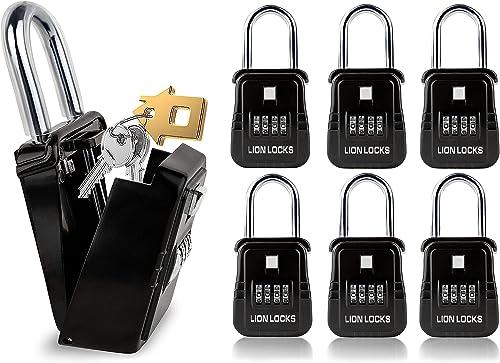 Lion Locks 1500 Key Storage Realtor Lockbox, Set-Your-Own Code Lock Portable Key Holder, Rust-Proof Secure Outdoor Key Safe, Hide-a-Key Safe Box Realtor Lock Box, Airbnb, Construction (6-Pack/Black)