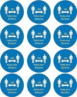Avery COVID-19 Lot de 12 badges nominatifs circulaires avec distance sociale